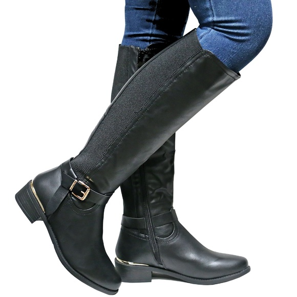 2a7cebfafe4 New Black Slim Calf Knee High Riding Boots 10